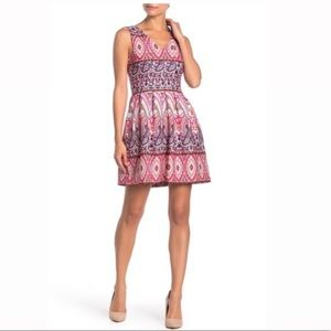 Vince Camuto V-Neck Printed Fit & Flare Dress